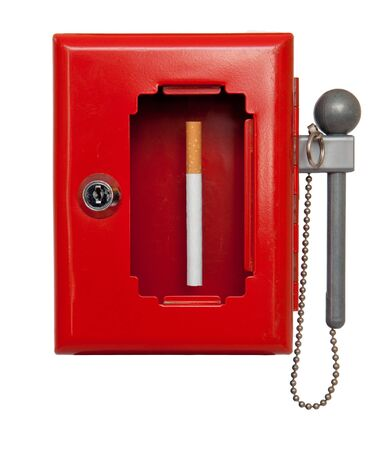 a cigarette in an emergency box Stock Photo