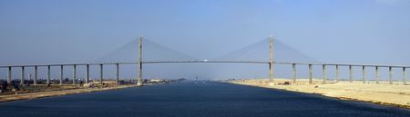 escort: A magnificent bridge spanning the Suez Canal Stock Photo