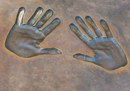 handprints: Handprints in the metal.