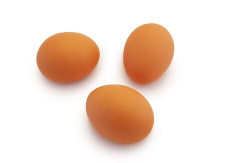 Three eggs on a white background