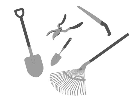 Garden tool set of 5 pieces Ilustracja