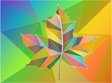 Vector stained glass maple leaf
