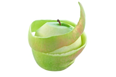 Green apple with peel isolated photo