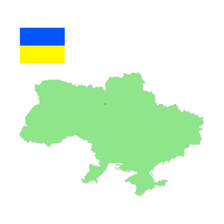 Map and flag of Ukraine.  Vector