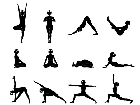 A set of twelve yoga asanas.