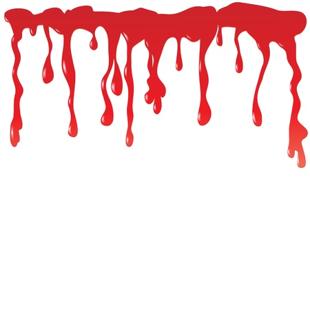 Blood dripping on a white background.