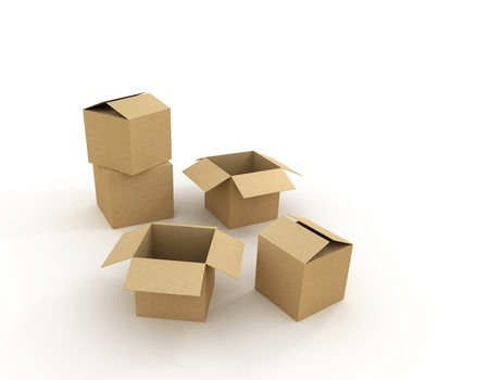 Cardboard boxes over white background. 3d illustration illustration