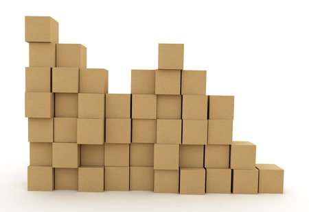 Pile of cardboard boxes over white background. 3d illustration