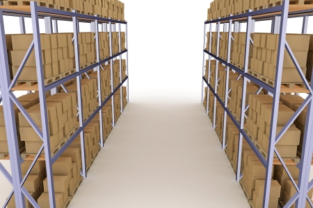 storage warehouse: Distribution warehouse with cardboard boxes. 3d illustration