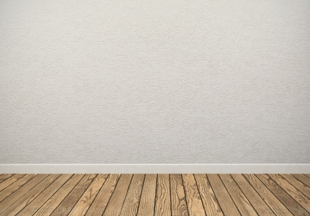 Lege ruimte met witte muur en houten vloer