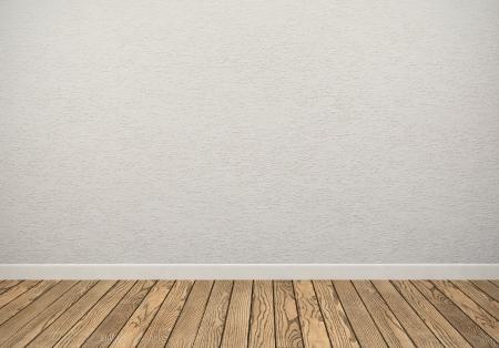 muro: Stanza vuota con parete bianca e pavimento in legno