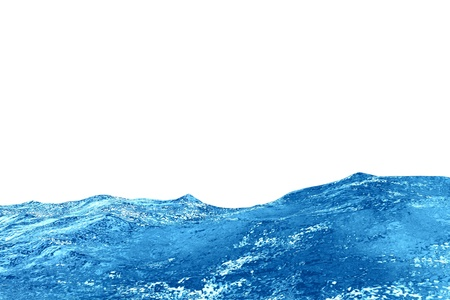 Waves of blue water isolated on white