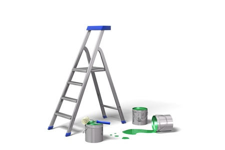 Ladder and paint cans on white