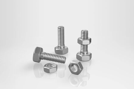 Bolts and nuts on a gray background