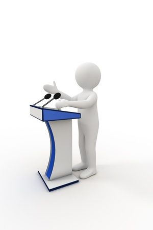 3d person giving a speech at the podium  photo