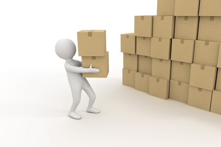 3d small person is holding a cardboard boxes Stock Photo
