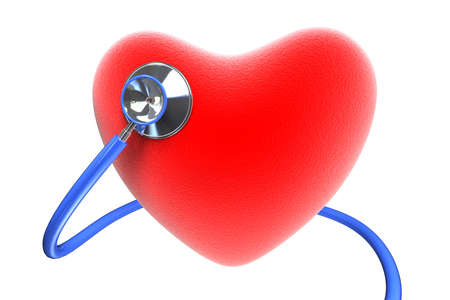 stethoscope heart: Red heart with a stethoscope, isolated on white background  Stock Photo