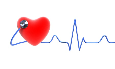 Red heart with a stethoscope, isolated on white background  Stock Photo