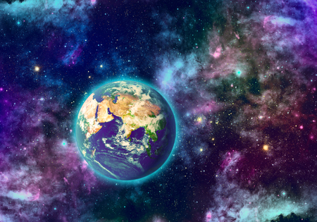 galactic: Planet earth and galaxy of different colors   Stock Photo