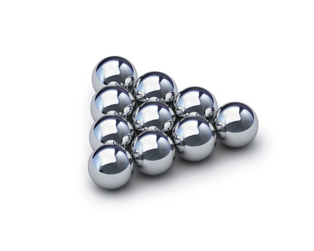 Metal sphere render on white isolated with clipping path Stockfoto