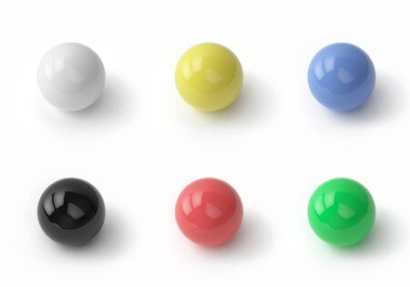 Set of colored glossy balls on white