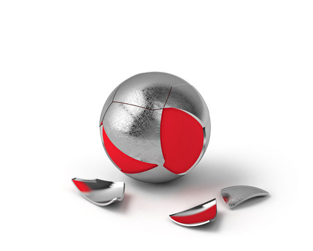 metal sphere: 3d render of broken metal sphere and red sphere inside, with clipping path Stock Photo