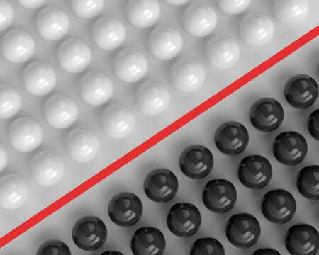 White and black spheres separated by a red line