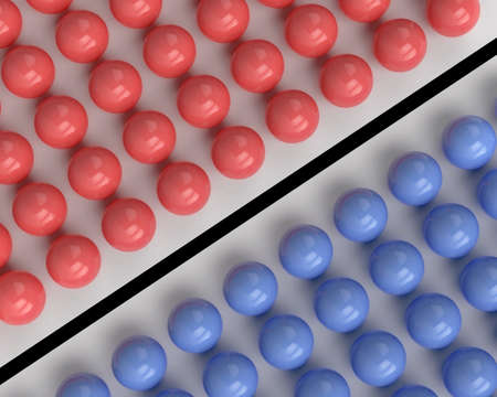 nonconformity: Red and blue spheres separated by a black line Stock Photo