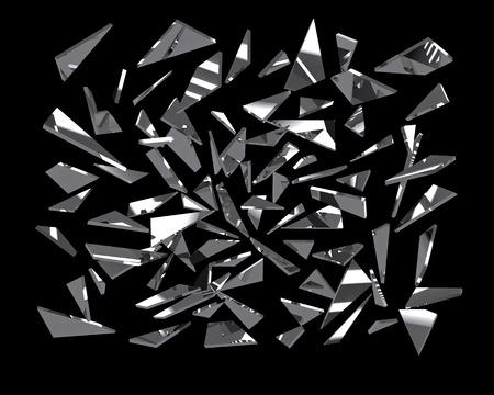 Pezzi di vetro specchio rotto su nero, rendering 3D Archivio Fotografico - 40902707