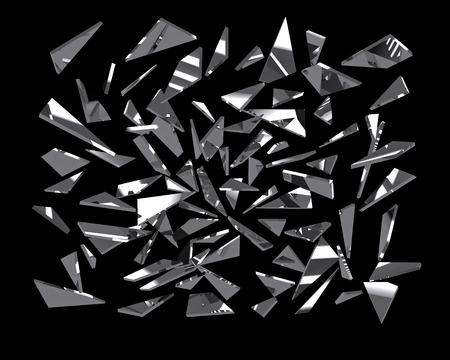 Stukken gebroken spiegel glas over zwarte, 3d renderen Stockfoto