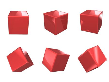 Red glossy cubes in six positions isolated on white, 3d render