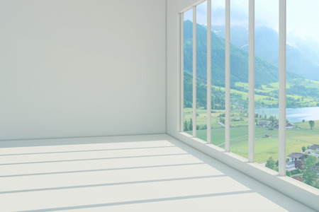 Empty white room with beautiful views from the window