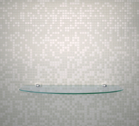 Glass shelf on the wall in bathroom