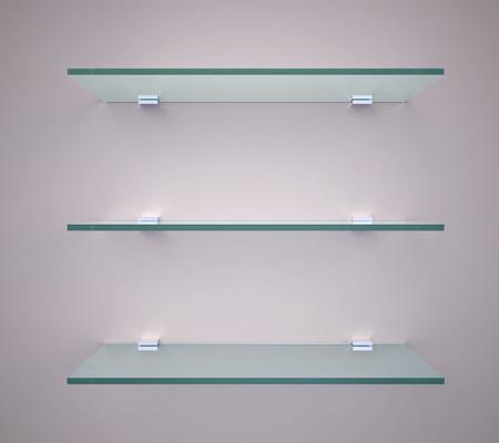glass shelves: Empty glass shelves on a wall