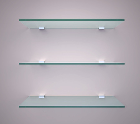 Empty glass shelves on a wall