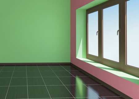 Green and pink room with window and tiled floor Stock Photo