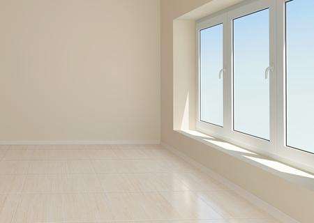 tile flooring: Empty beige room with window and tiled floor