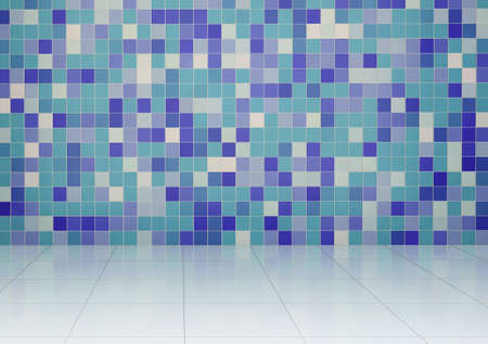 tiled wall: Bathroom with tiled wall and floor. 3D render