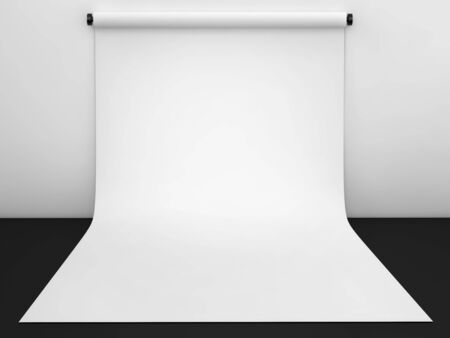 Photography studio with white paper backdrop. 3d render
