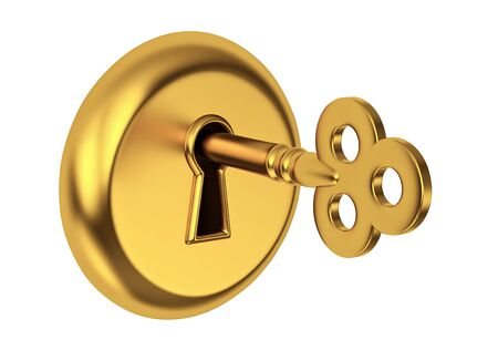 lock concept: Golden key in keyhole, isolated on white. 3D render Stock Photo