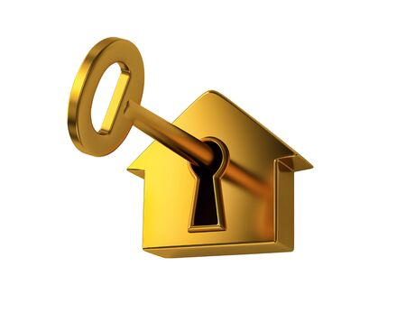 Golden key in keyhole, isolated on white. 3D rendering