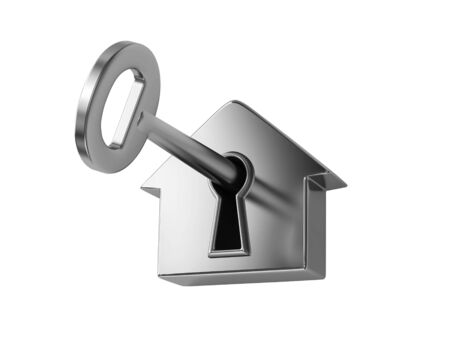 chrome: Silver key in keyhole, isolated on white. 3D rendering Stock Photo