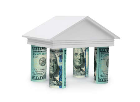 3d concept of the bank with rolls dollar banknotes on white background