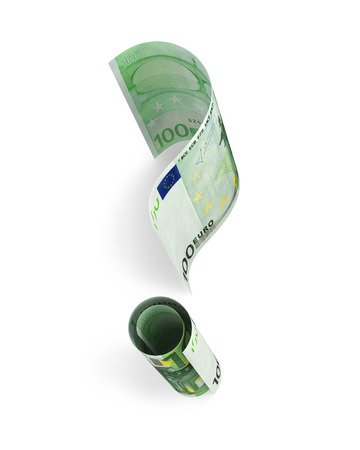 one hundred euro banknote: One hundred Euro banknote in form of a question mark. 3D rendering