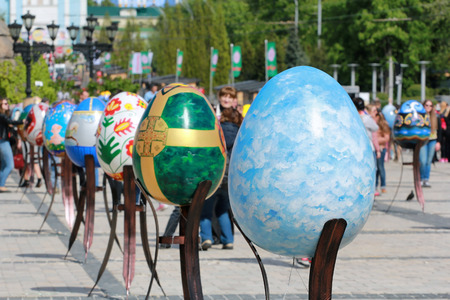 KYIV, UKRAINE - April 23, 2016. VI Ukrainian festival of Easter eggs. 374 Easter eggs in one meters in height painted by masters-painters from all Ukrainian regions Editorial