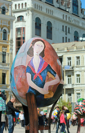 KYIV, UKRAINE - April 23, 2016. VI Ukrainian festival of Easter eggs. 374 Easter eggs in one and a half meters in height painted by masters-painters from all Ukrainian regions Editorial