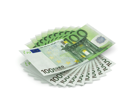 Stack of hundred Euros isolated on white, one thousand Euros. 3D rendering with clipping path Stock Photo