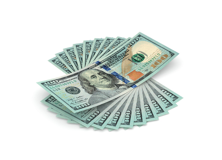 Stack of hundred dollars isolated on white, one thousand dollars. 3D rendering with clipping path Stock Photo