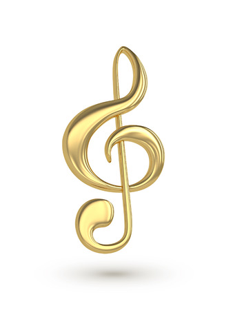 Golden  treble clef. 3D rendering with clipping path Stock Photo
