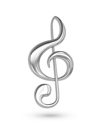 Silver treble clef. 3D rendering